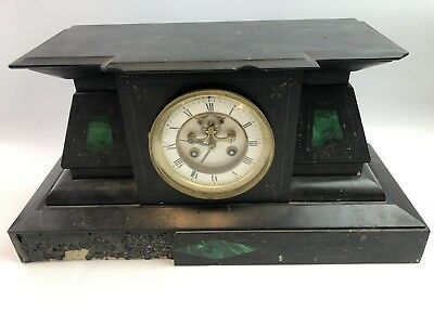 Antique Marble/Slate Green Malachite Inlay Case Open Escapement Mantle Clock