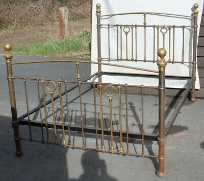 1910 King Size Brass and Iron bed Bed Frame-- Check Size