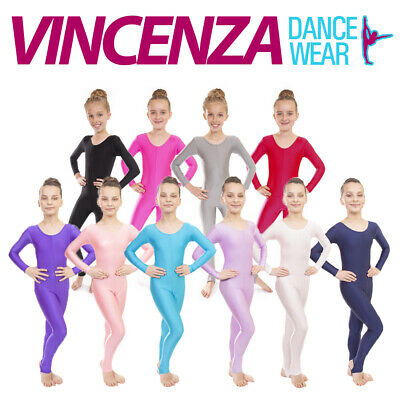 Childrens Girls Sleeved Lycra Dance Gymnastics Long Sleeve Unitard Catsuit