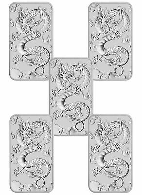 Lot of 5 2019 P Australia 1 oz Silver Dragon $1 Bar GEM BU SKU57291