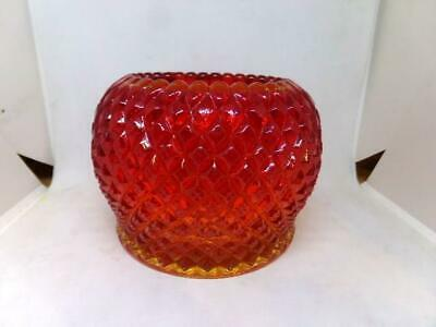 Vintage Westmoreland Glass Yellow To Red Amberina Diamond Point Bowl - Crimped