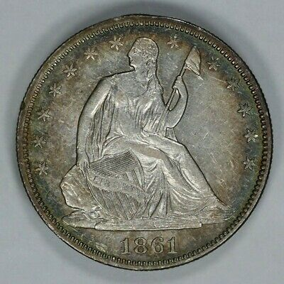 1861 Liberty Seated Half Dollar 50C Xf Extra Fine Au About Uncirc Details (9155)