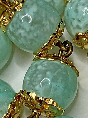 "† Unique Vintage Speckled Lamp Art Glass Double Capped Rosary 30 1/2"" Necklace †"