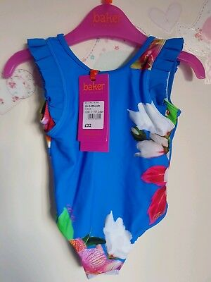 Ted Baker girls blue floral Swim Suit / swimwear. 18-24 Months. Designer