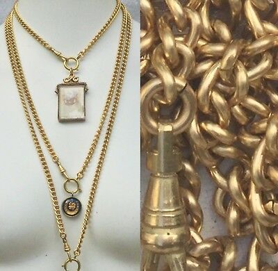 """SIX piece LOT!!! 3 x 25in & 3x 31"""" GOLD brass WATCH CHAIN necklace lot"""