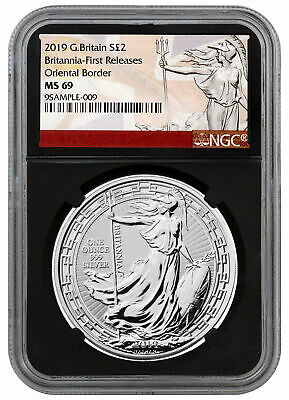 2019 G. Britain 1 oz Silver Britannia Oriental Border NGC MS69 FR Black SKU56997