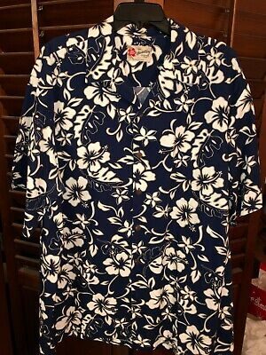 6a1124b1 Mens Hilo Hattie Hawaiian Shirt Navy white Hibiscus Mens 2XL Aloha XXL