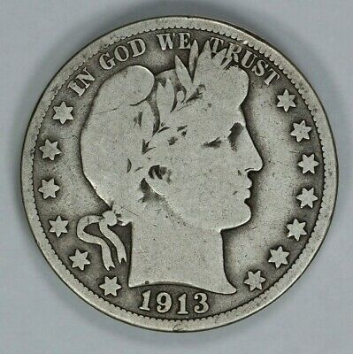 1913 Barber Half Dollar 50C G Good Vg Very Good (9161)