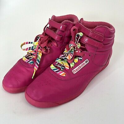 951388c2c2f4a Reebok 25th Anniversary Freestyle Classic High Top Reign Bow Hot Pink Size  10