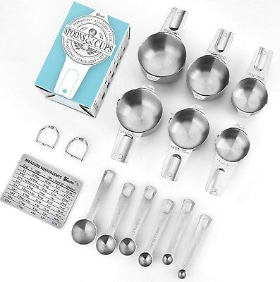 *easy Life Measuring Cups & Spoons*set Of 15*durable Stainless Steel*