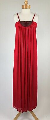 VTG 70s Red Disco Goddess Gauzy Jersey Beaded Yoke Draped Column Maxi Dress XS