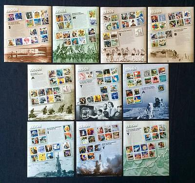 #3182-3191 Celebrate The Century Complete Set Of Sheets Vf Mint Nh Below Face