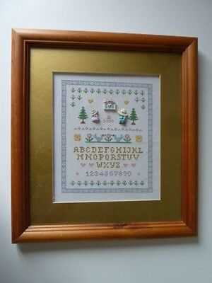"""14"""" x 13"""" WOODEN FRAMED/GOLD MOUNTED ABC/123 CROSS STITCH"""