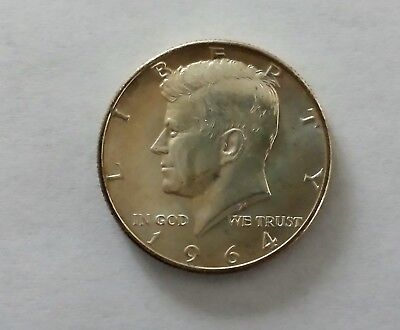 1964 P Kennedy Half Dollar 90% SILVER US Mint Coin with light toning