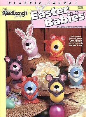 Easter Babies ~ Cat Bunny Mouse Animal Eggs plastic canvas pattern leaflet NEW