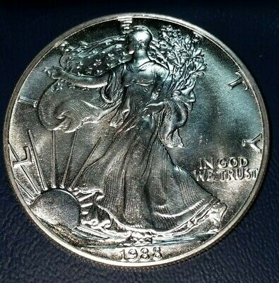 1988 1 oz AMERICAN SILVER EAGLE BRILLIANT UNCIRCULATED. Free Shipping.