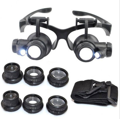 8 Lens Magnifying Magnifier Eye Glass Loupe Watch Jeweler Repair With LED Light