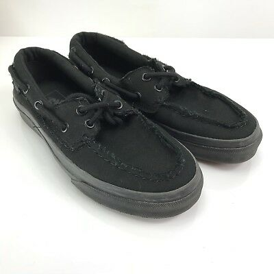 7ce4e25df28 VANS Zapato Del Barco Black Boat Shoes Womens 6.5 Mens 5 Pinched Canvas  Loafer