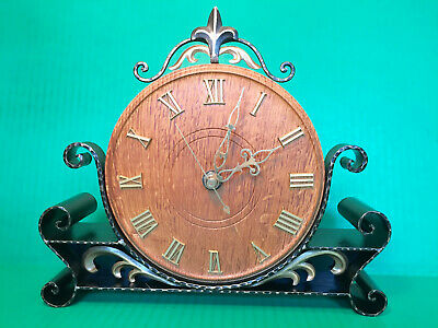 VINTAGE DANISH Carved Oak & Wrought Iron Electric Mantel Shelf Clock Works Well