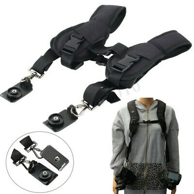 Pro Durable Double Dual Shoulder Strap Belt Sling For 2 Digital DSLR SLR Camera