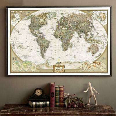 Large Vintage World Map Office Supplies Detailed Antique Poster Wall Chart Retro
