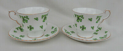2 Sets Hammersley Bone China Shamrock Pattern Cup's & Saucer's  Made in England