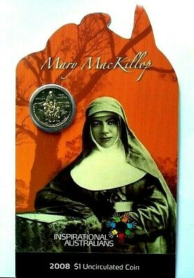 2008  Inspirational Australians - Mary MacKillop  UNCIRCULATED Carded $1 Coin.