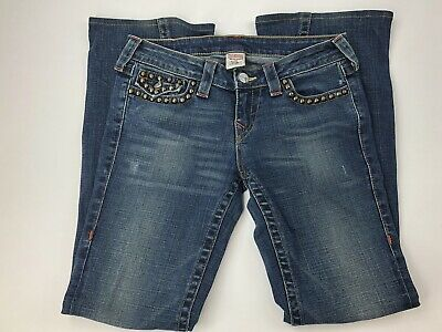 True Religion Women Studded Pocket Low Rise Distressed Joey Jeans Size 29