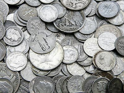 $5 All 90% Silver U.S. Coin Lot-Half Dollars, Quarters, Dimes-No Clad or Nickel