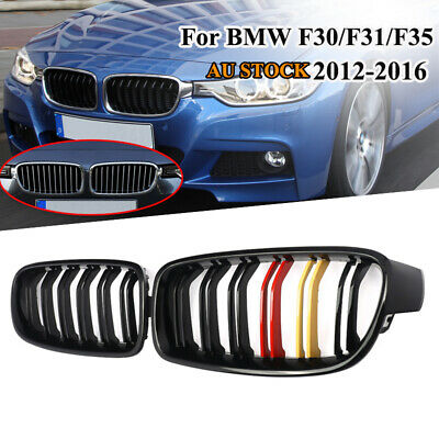 2X Gloss Black Dual Fins For BMW F30 F31 12-17 Front Grille Grill 316d 318d 320d