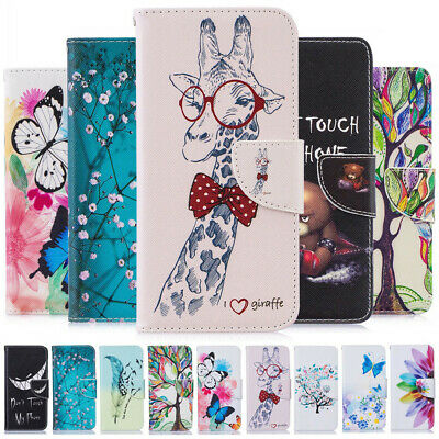 For Huawei Y5 Y6 Y7 Pro Y9 2019/18 Painted Leather Flip Wallet Stand Case Cover