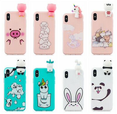 3D Cartoon Cute Shockproof Soft Silicone Case For iPhone XS Max XR X 8 7 6 Plus