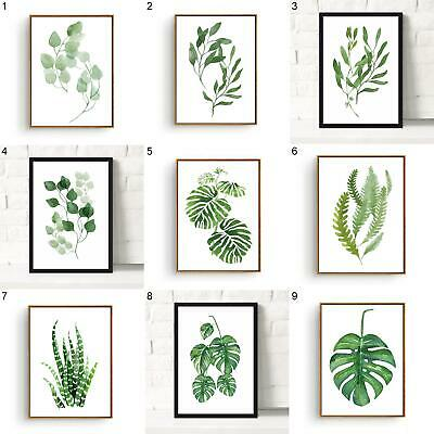 Modern Watercolor Plant Canvas Painting Palm Leaf Art Print Wall Poster Strict