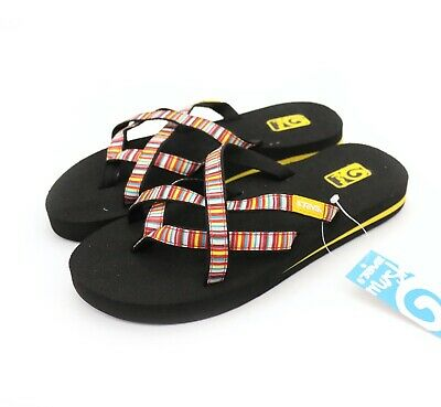 ee7759bac Teva Olowahu Mini Stripes Multi Orange Strappy Flip Flop Sandals US 5 NEW!