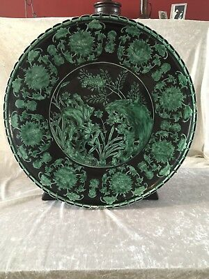 Vintage Chinese Plate On Wooden Stand - Large 52cm