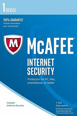 McAfee 2019 Internet Security Antivirus 1 Device 1 Year PC/Mac/Android