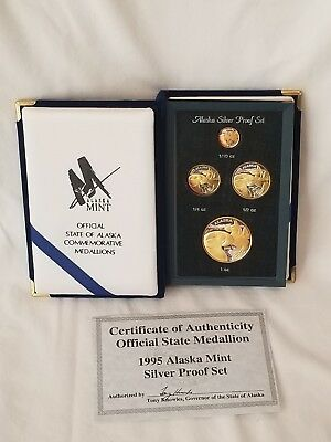 1995 Alaska Mint Gold Relief Silver Proof Set with COA Signed by Governor