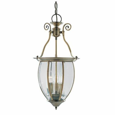 Searchlight Antique Brass 3 Light Lantern With Curved Bevelled Glass Shade