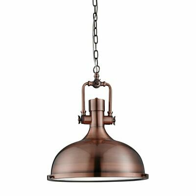 Searchlight INDUSTRIAL PENDANT - 1 LIGHT ANTIQUE COPPER, FROSTED GLASS 1322CU