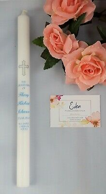 """Personalised 12"""" Confirmation Candle gift (Cross with names, date & church)"""
