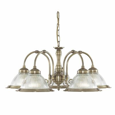 Searchlight American Diner Antique Brass 5 Light Fitting With Clear Ribbed Glass