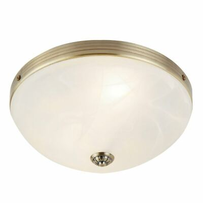 Searchlight WINDSOR FLUSH 2 LIGHT ANTIQUE BRASS WITH MARBLE GLASS 5772-2AB