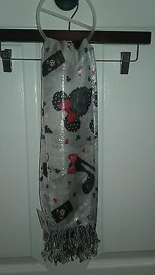 NEW Disney Parks Exclusive Mickey Mouse Black White Red Ladies Fashion Scarf