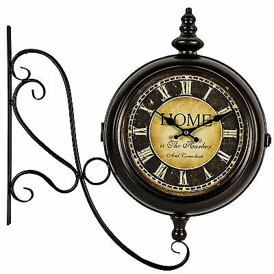 Vintage Railway Station Style Home Harbour INDOOR Brown Double Sided Wall CLOCK