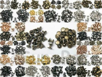 Flat Dome Round Rivets Burr Set Steel Plated for Leather Belts Bags Shoes 6-12mm