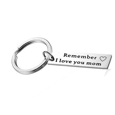 Fashion Metal Keychain Print I Love You Mom from Daughter Family Key Decor 8C