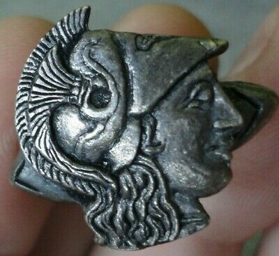 Ancient Greek Silver ring Athena Alexander III the Great King of Macedonia