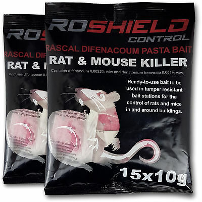 Roshield 30 Rodent Pasta Poison Sachets For Mouse Mice Rat Control - Bait Refill