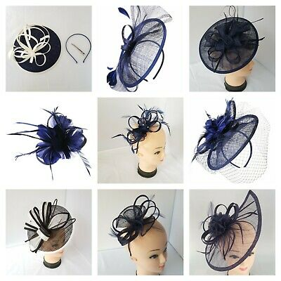 Navy Blue Fascinator Head Piece Royal Ascot Headband & Clip