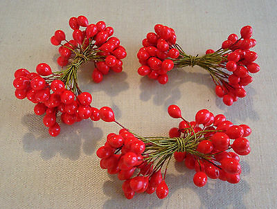 3 Bundles of Vintage Wire Berry Picks Christmas Millinery Crafts